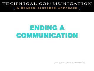 ENDING A COMMUNICATION