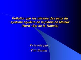 Pollution par las nitrates des eaux du syst me aquif re de la plaine de Mateur Nord  Est de la Tunisie