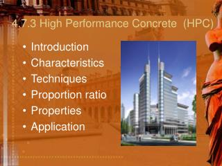 4.7.3 High Performance Concrete  HPC