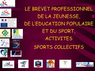 LE BREVET PROFESSIONNEL  DE LA JEUNESSE,  DE L EDUCATION POPULAIRE  ET DU SPORT,  ACTIVITES  SPORTS COLLECTIFS
