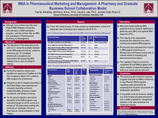 MBA in Pharmaceutical Marketing and Management: A Pharmacy and Graduate Business School Collaboration Model  Fadi M. Alk
