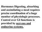 hormones digesting, absorbing and assimilating a meal requires precise coordination of a huge number of physiologic pro