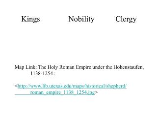 Kings  Nobility  Clergy