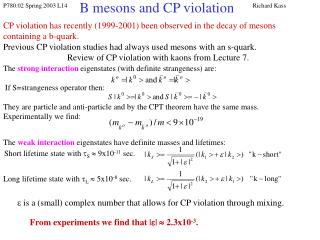 B mesons and CP violation