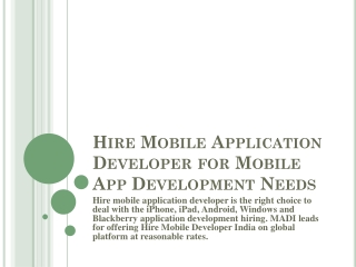 Mobile Application Developer India for  Mobile App