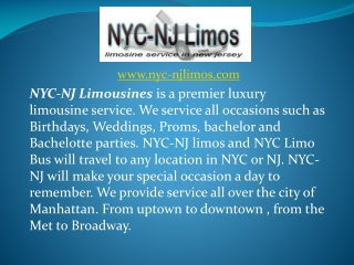 NYC Limousines - New Jersey Prom Limos NJ - NYC Limo Bus