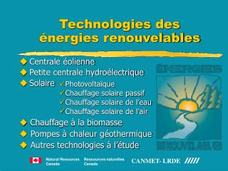 Technologies des   nergies renouvelables