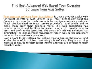 Find Best Advanced Web Based Tour Operator Software