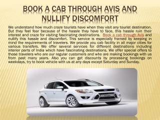 Book a Cab through Avis and Nullify Discomfort