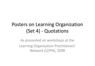 Posters on Learning Organization Set 4 - Quotations