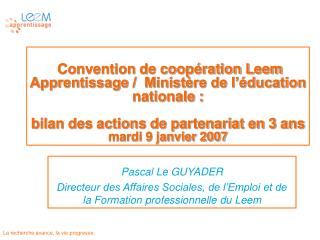 Convention de coop ration Leem Apprentissage