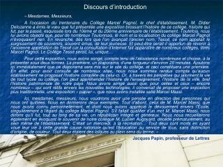 Discours d introduction