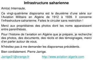 Infrastructure saharienne Amie Internaute, Ce vingt-quatri me diaporama est le deuxi me d une s rie sur l Aviation Milit
