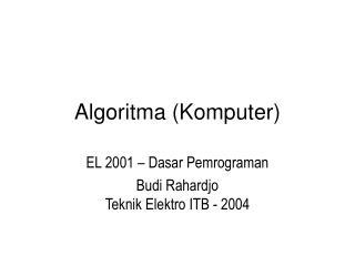 Algoritma Komputer