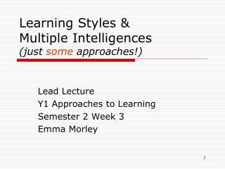 Learning Styles  Multiple Intelligences  just some approaches
