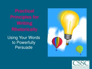 Practical Principles for Writing Rhetorically