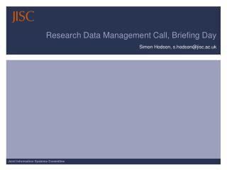 Research Data Management Call, Briefing Day