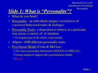 Slide 1: What is  Personality