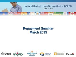 Repayment Seminar March 2013