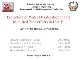Protection of Water Desalination Plants from Red Tide effects in U.A.E.