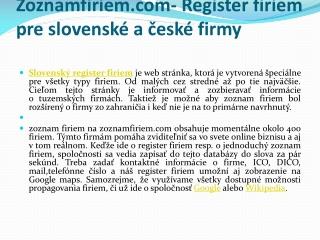 Zoznamfiriem.com- Register firiem pre slovenské a české firm