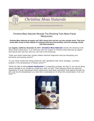 Christina Moss Naturals Reveals The Shocking Truth About Fac