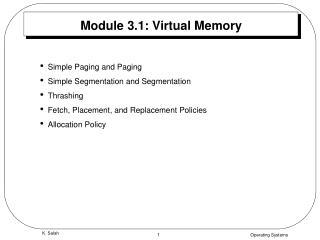 Module 3.1: Virtual Memory