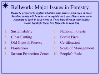 Bellwork: Major Issues in Forestry