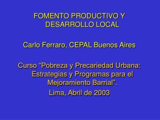 FOMENTO PRODUCTIVO Y DESARROLLO LOCAL  Carlo Ferraro, CEPAL Buenos Aires  Curso  Pobreza y Precariedad Urbana: Estrategi