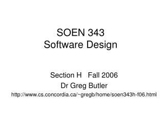 SOEN 343 Software Design