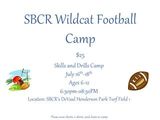 SBCR Wildcat Football Camp