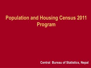 population and housing census 2011 program