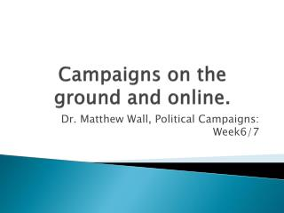 Campaigns on the ground and online.