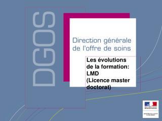 Les  volutions de la formation: LMD  Licence master doctorat