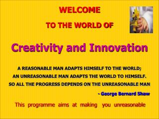 welcometo the world ofcreativity and innovation