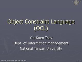 Object Constraint Language OCL