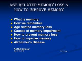 age related memory loss  how to improve memory