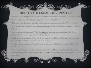 Identity  Belonging quotes