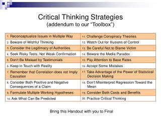 Critical Thinking Strategies addendum to our  Toolbox