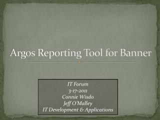 Argos Reporting Tool for Banner