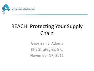 REACH: Protecting Your Supply Chain
