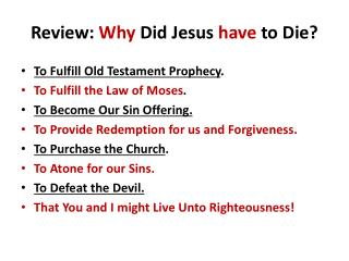 Review: Why Did Jesus have to Die