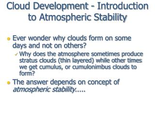 cloud development - introduction to atmospheric stability