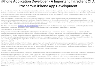 5iPhone Application Developer - A Important Ingredient Of
