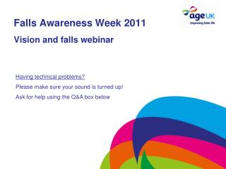 Falls Awareness Week 2011 Vision and falls webinar