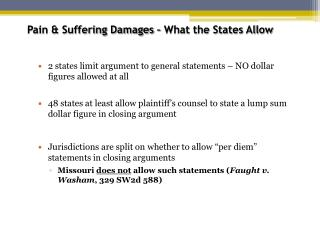 Pain  Suffering Damages   What the States Allow