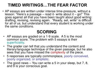 TIMED WRITINGS THE FEAR FACTOR