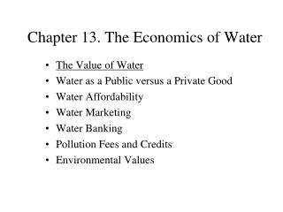 Chapter 13. The Economics of Water