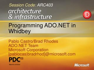 Programming ADO in Whidbey