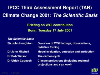 Briefing on WGI contribution Bonn: Tuesday 17 July 2001
